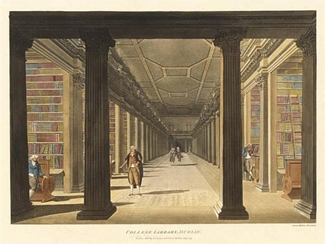 Image: CC-licensed image of Trinity College Library in Ireland. Art by 18th century watercolorist James Malton.